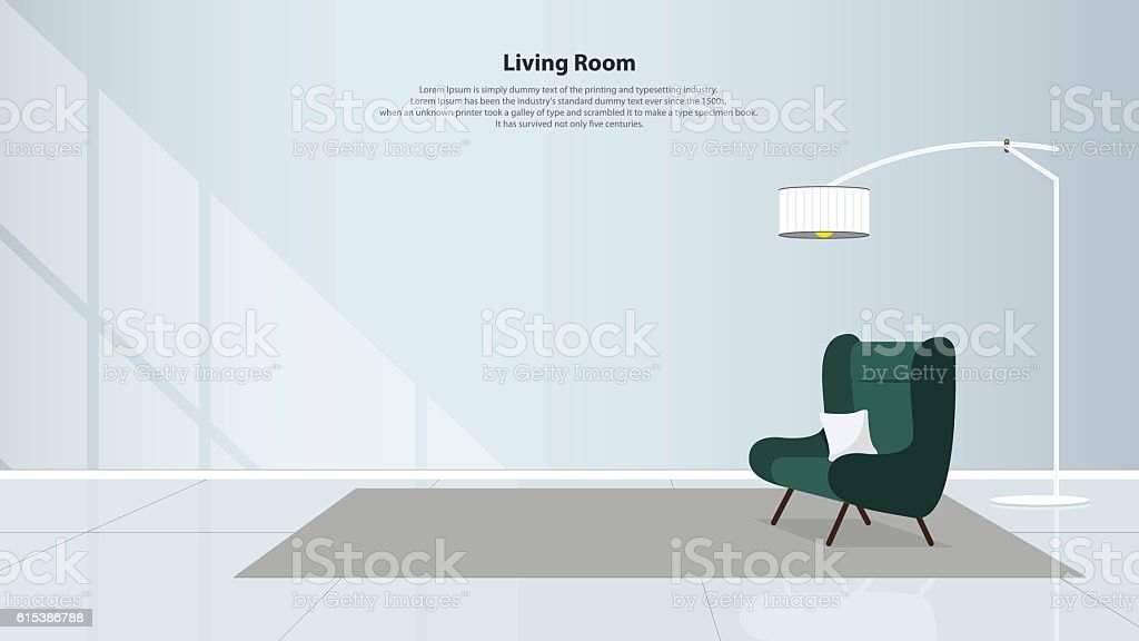 Home interior design with furniture. Living room with green armchair. Vector vector art illustration