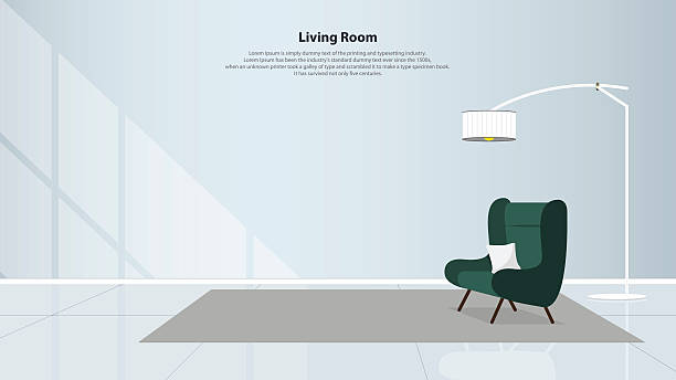 Home interior design with furniture. Living room with green armchair. Vector Home interior design with furniture. Modern living room with green armchair, table, lamps and carpet in flat design. Minimal style. Vector illustration. armchair stock illustrations