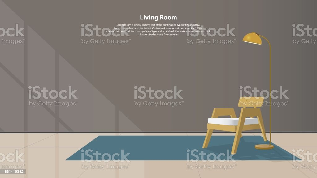 Home interior design with furniture. Modern living room with wood armchair, lamps and carpet in flat design. Minimal style. Vector. vector art illustration