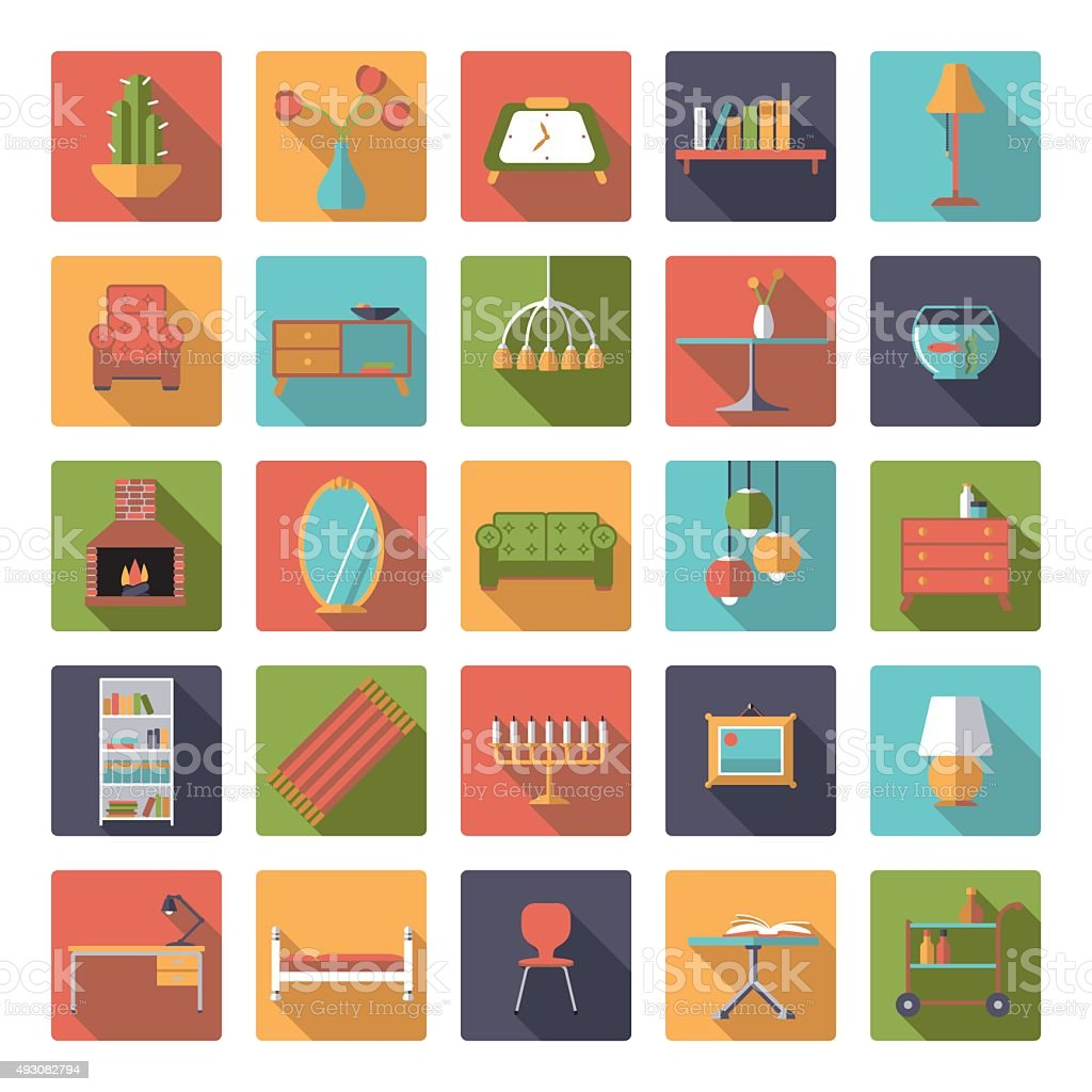 Home Interior Flat Design Vector Icons Collection vector art illustration