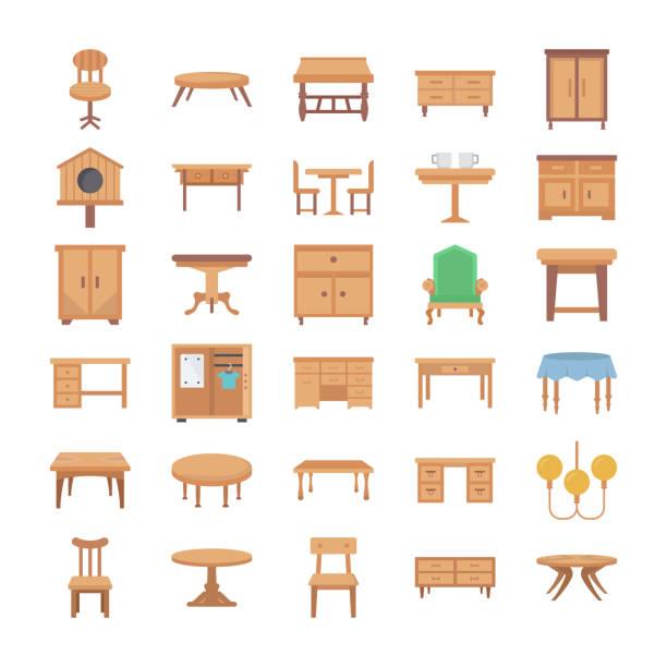 ilustrações de stock, clip art, desenhos animados e ícones de home interior flat vector icons - sideboard