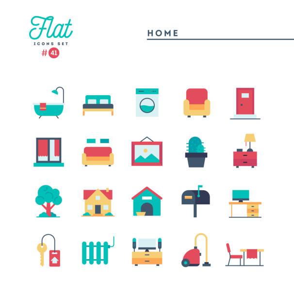 hause, setzen interieur, möbel und mehr, flache symbole - gartensofa stock-grafiken, -clipart, -cartoons und -symbole