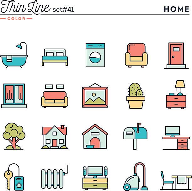 startseite, inneneinrichtung, möbel und weitere, dünne linie-icons satz farben - gartensofa stock-grafiken, -clipart, -cartoons und -symbole