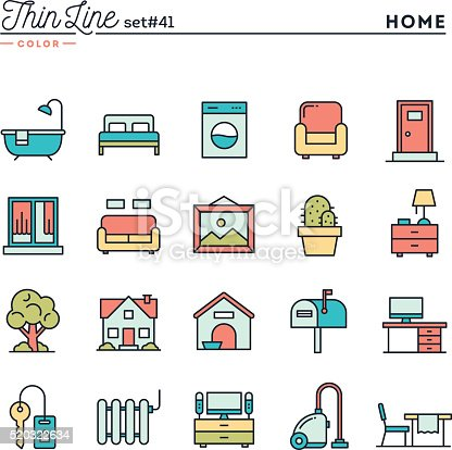 Home Interior Furniture And More Thin Line Color Icons Set Stock Vector Art 520322634 Istock