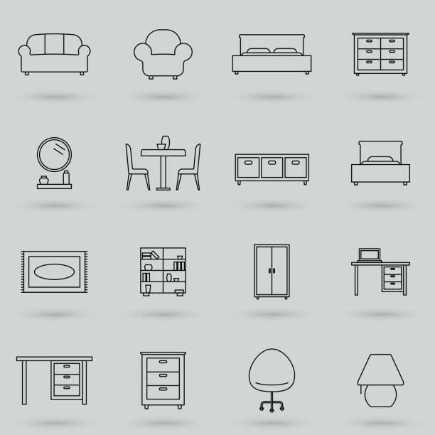 hause, interieur, möbel und vieles mehr, dünne linie icons set. symbol, logo-vektor-illustration. - gartensofa stock-grafiken, -clipart, -cartoons und -symbole