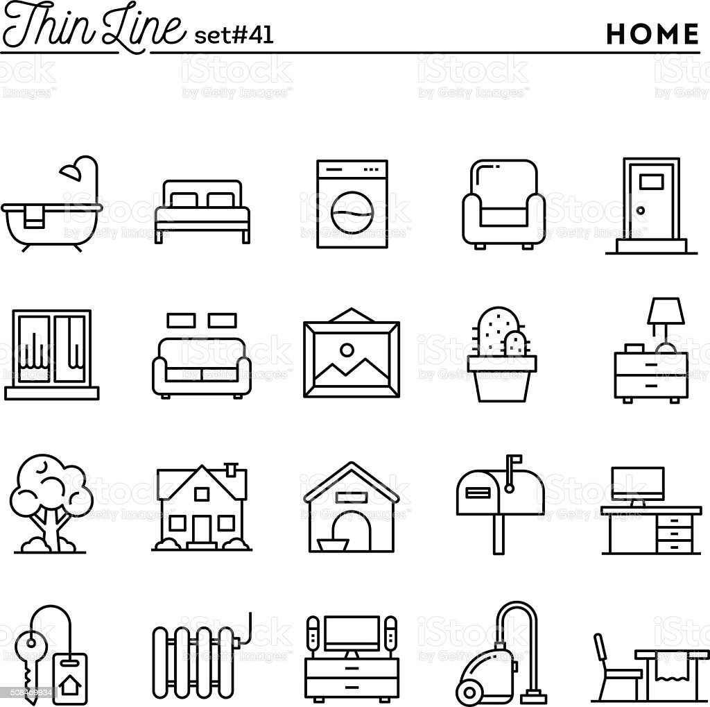 Home, interior, furniture and more, thin line icons set