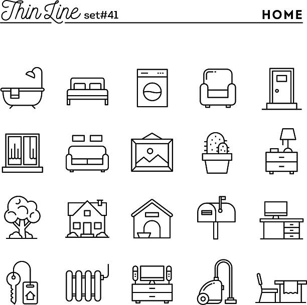 stockillustraties, clipart, cartoons en iconen met home, interior, furniture and more, thin line icons set - garden house