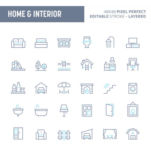 home, innere & möbel minimal vektor icon set (eps 10) - gartensofa stock-grafiken, -clipart, -cartoons und -symbole