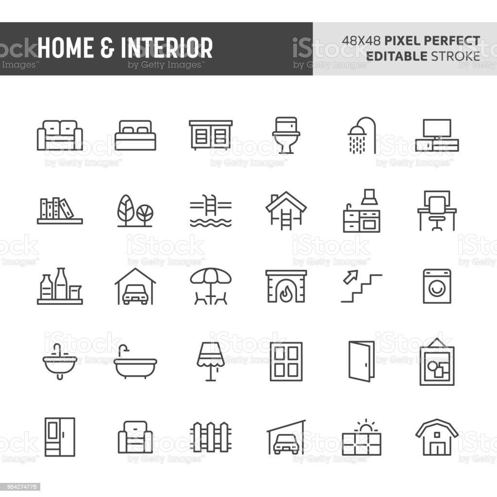 Conjunto de ícones para casa e interiores - Vetor de Acariciando royalty-free