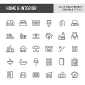 30 thin line icons associated with home & interior. Symbols such as home furniture, types of room and home appliances are included in this set. 48x48 pixel perfect vector icon & editable vector.