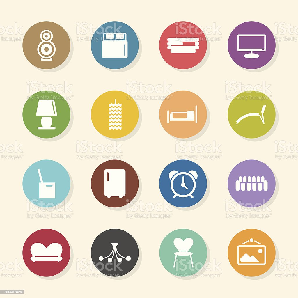 Home Interior Icons - Color Circle Series royalty-free stock vector art