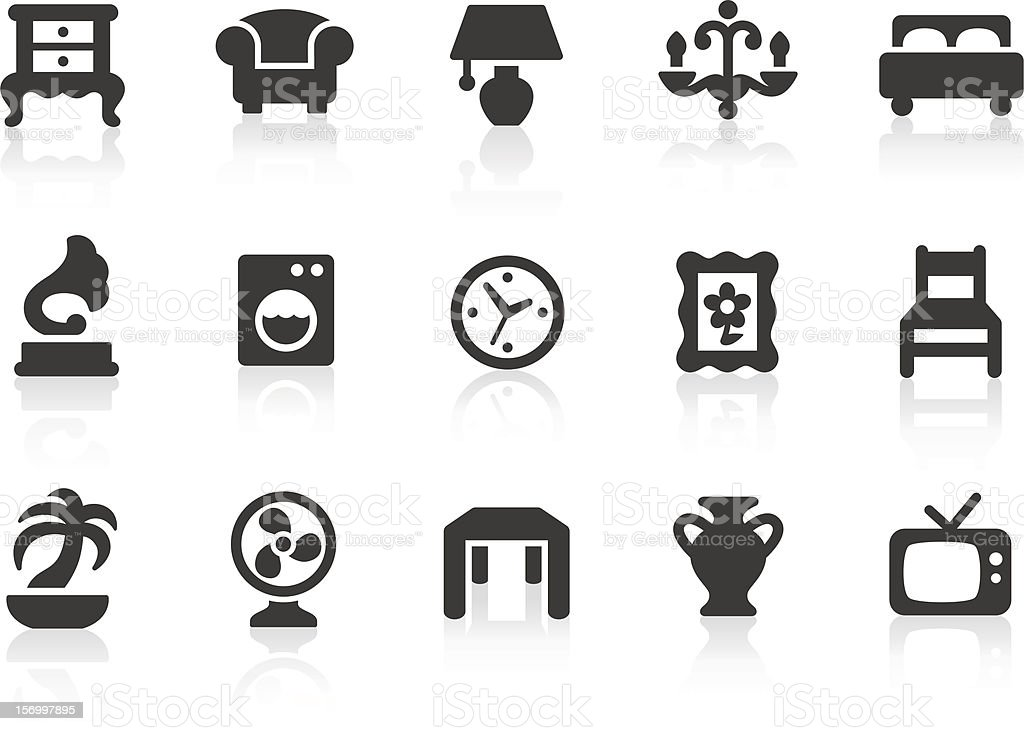 Home Interior Icons Stock Vector Art & More Images of ...