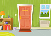 Vector illustration of a cartoon home interior with living room door entrance, various household objects and window opened on a spring urban landscape. File is EPS10 and uses multiply transparency at 10% on wall shadow and 10% and 16% on ground's shadows. Vector eps and high resolution jpeg files included