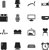 Home Interior Silhouette Vector File Icons.