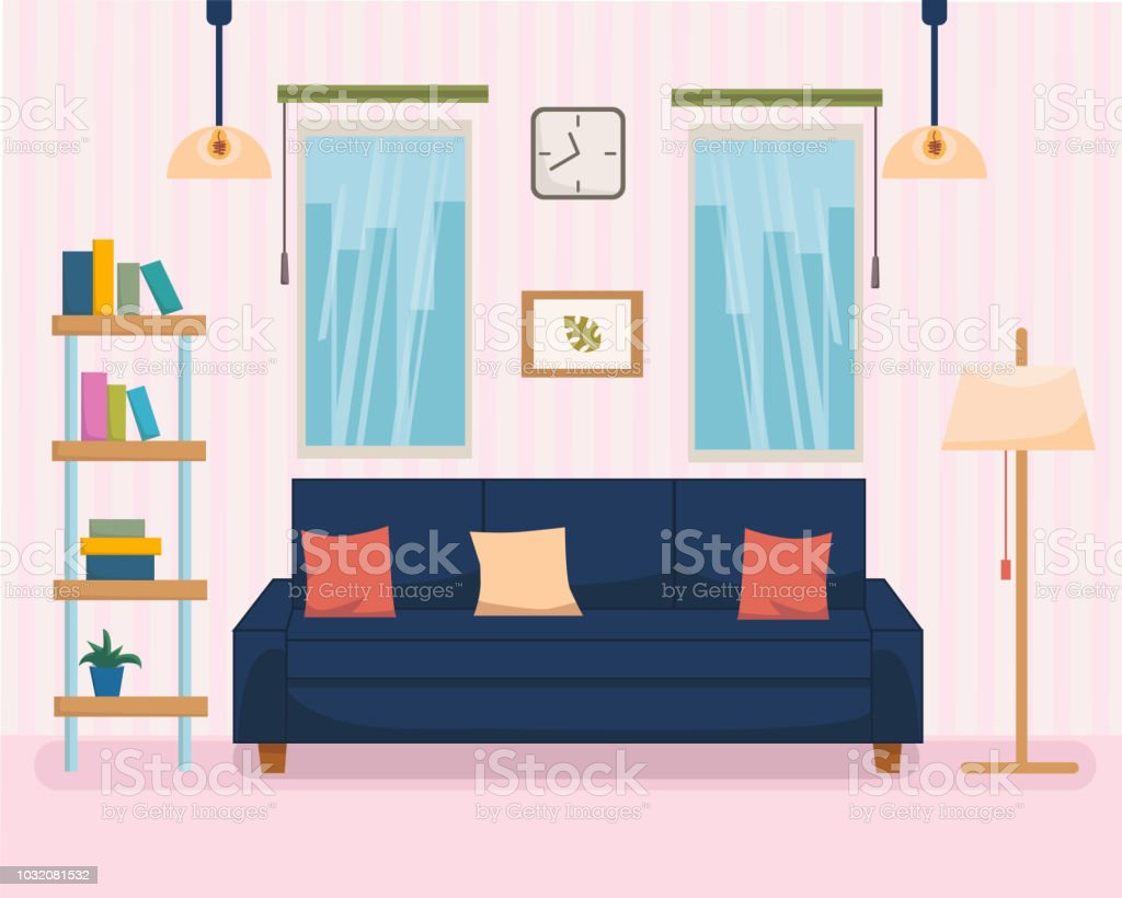 Home Interior With Furniture And Sofa Bookshelf Lamp Strip On Background Flat