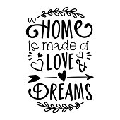 Home is made of Love & Dreams text. Good for home decor, greeting card, poster, banner, textile print, and gift design.