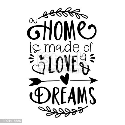 istock Home is made of Love & Dreams text. 1204415550