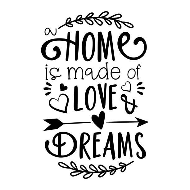 bildbanksillustrationer, clip art samt tecknat material och ikoner med hem är gjort av love & dreams text. - kort fras