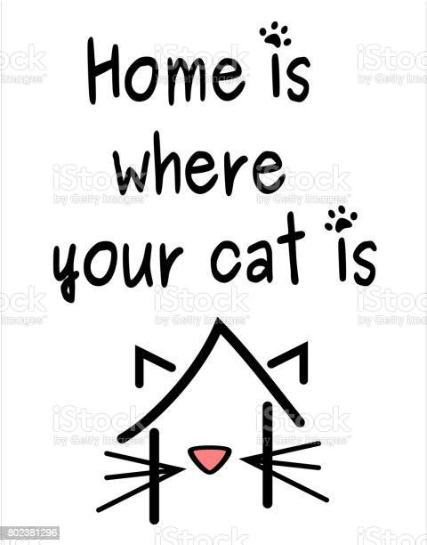Home is where your cat is concept quote vector poster card vector id802381296?b=1&k=6&m=802381296&s=612x612&h=cowswvom7pplpp x4hio2hx1be9su98oc2wjxeiydh8=