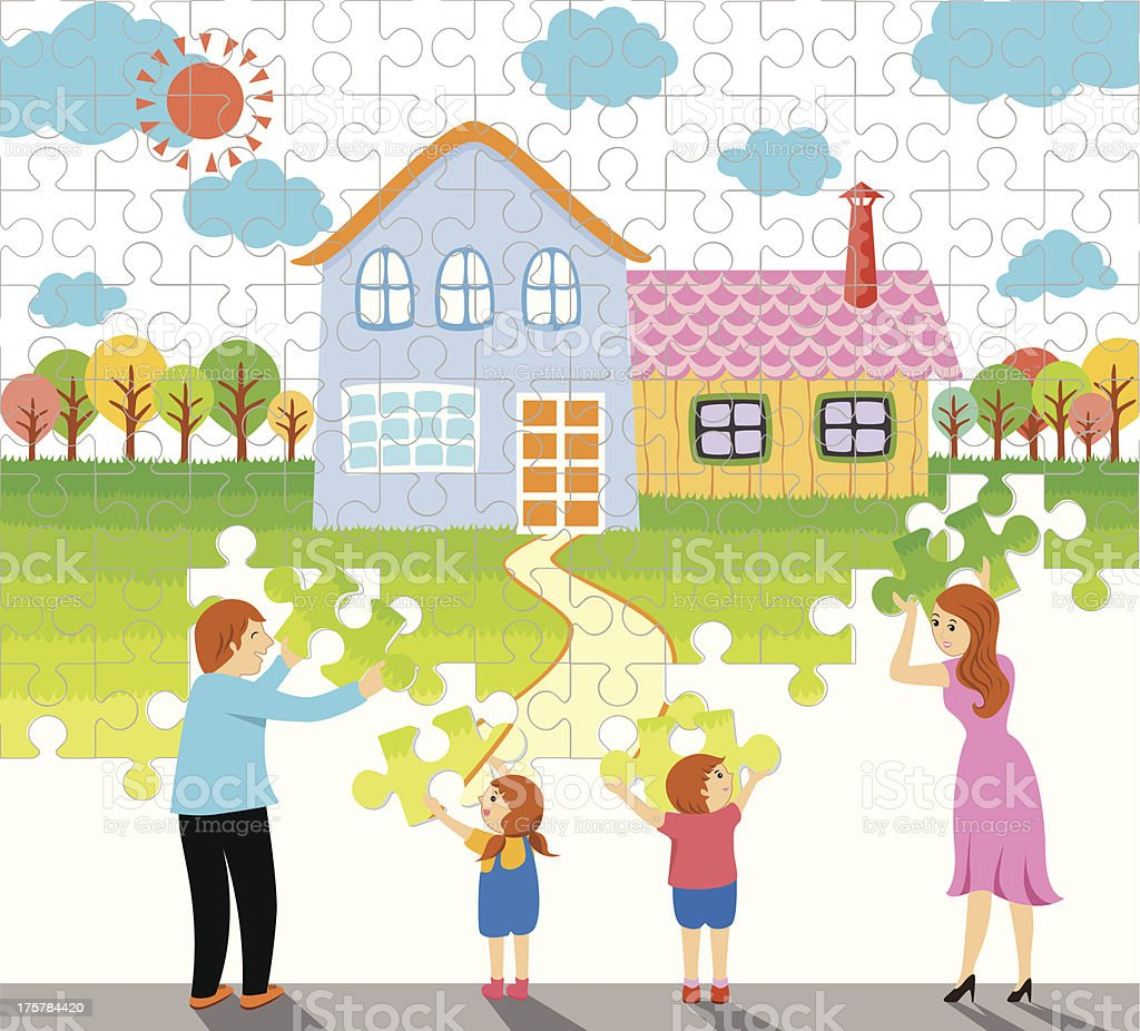 home jigsaw and family royalty-free stock vector art