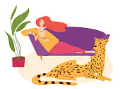 Home jungle hygge illustration with jaguar and a woman reading a book