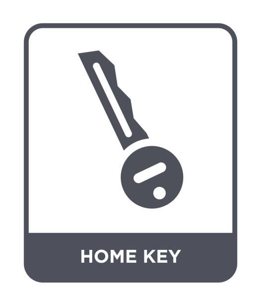 건설 컬렉션에서 홈 키 아이콘 가득 흰색 배경, 홈 키 유행에 벡터 아이콘 - home icon stock illustrations