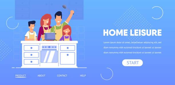 ilustrações de stock, clip art, desenhos animados e ícones de home leisure horizontal banner, happy family. - cooker happy