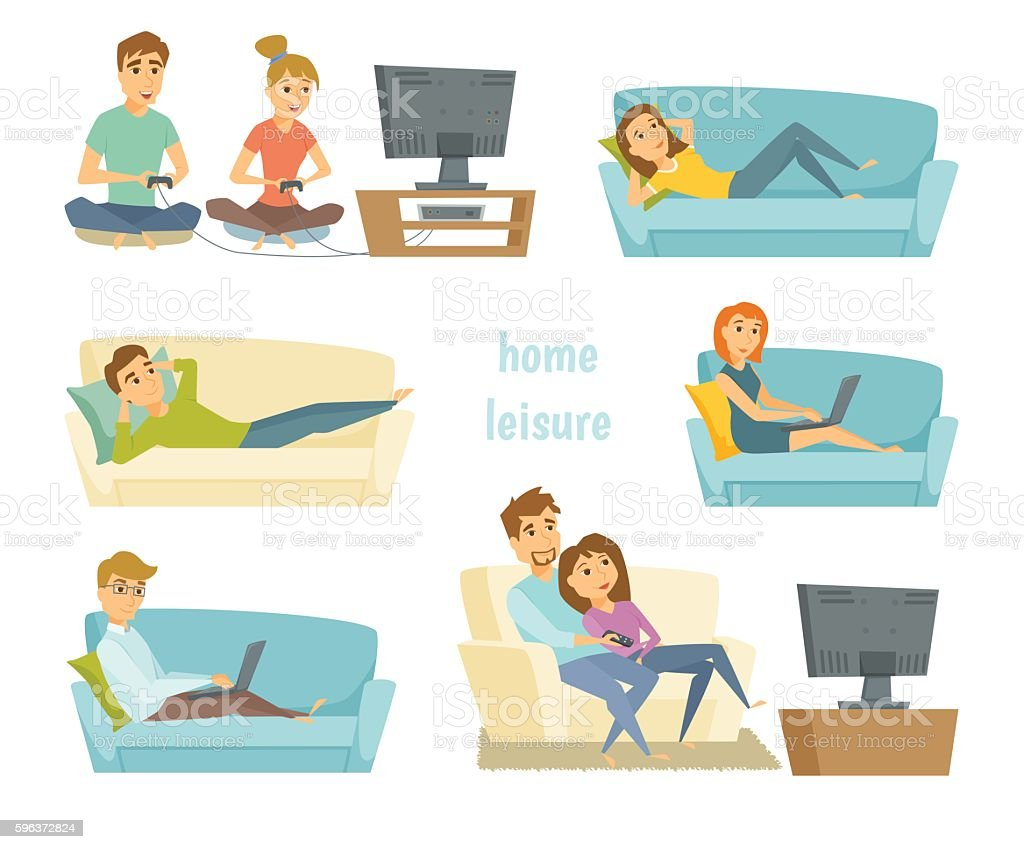 Home leisure vector vector art illustration