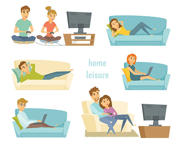 Home leisure vector Home leisure. Couple watching tv. Man work at home and women shopping online on sofa with laptop. Friends playing video games. People lying on sofa and relax. Home leisure young people. Leisure time watching tv stock illustrations