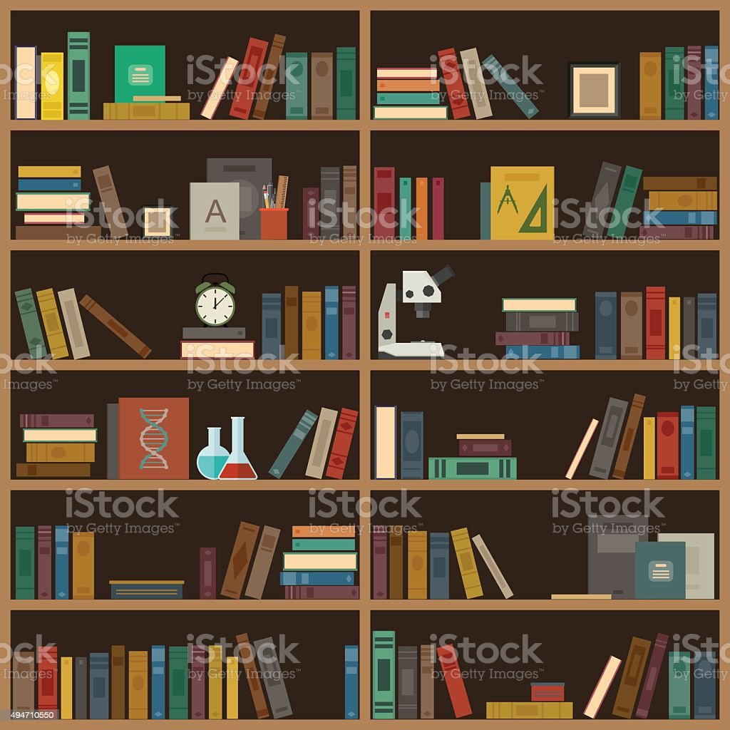 Home library flat illustration. vector art illustration