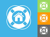 Home Life Saver  Flat Icon on Blue Background. The icon is depicted on Blue Background. There are three more background color variations included in this file. The icon is rendered in white color and the background is blue.