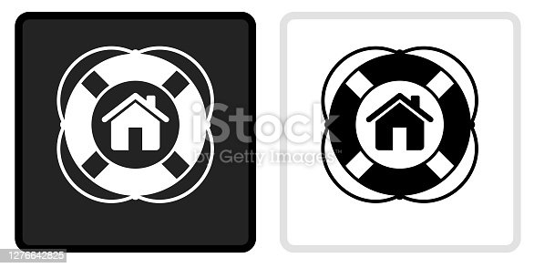 Home Life Saver Icon on  Black Button with White Rollover. This vector icon has two  variations. The first one on the left is dark gray with a black border and the second button on the right is white with a light gray border. The buttons are identical in size and will work perfectly as a roll-over combination.. This vector icon has two  variations. The first one on the left is dark gray with a black border and the second button on the right is white with a light gray border. The buttons are identical in size and will work perfectly as a roll-over combination.
