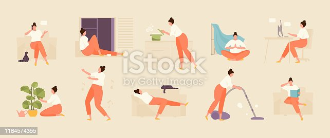 Girl character spends time at home. Home life and leisure set. Vector flat illustration