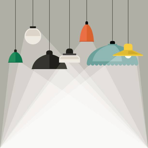 Home light background Home light background with lamps icons in flat style. Vector banner with lightings. lantern stock illustrations