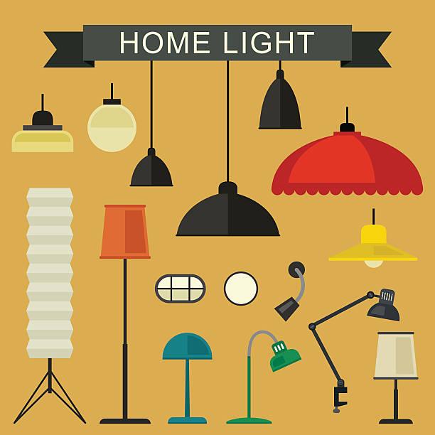 domu ikony zestaw światła. - lampa elektryczna stock illustrations