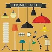 Home light icons set.
