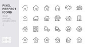 Home line icons set. House, residential building, homepage, property mortgage minimal vector illustrations. Simple flat outline sign for web real estate app. 30x30 Pixel Perfect. Editable Strokes