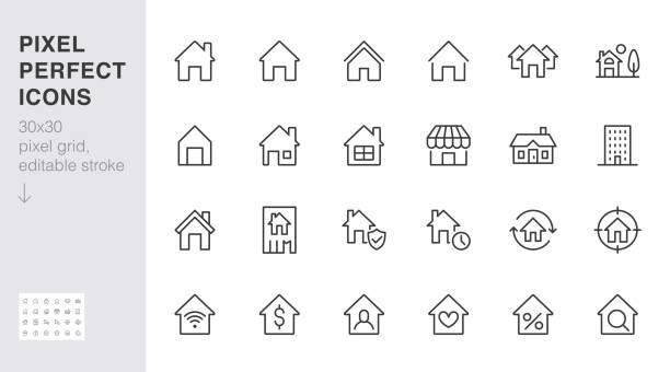 ilustrações, clipart, desenhos animados e ícones de ícones da linha inicial definidos. casa, prédio residencial, página inicial, hipoteca de propriedade mínima ilustrações vetoriais. sinal simples de contorno plano para o aplicativo imobiliário web. 30x30 pixel perfect. traços editados - edifício residencial