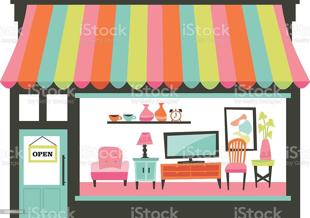 Home Living Furniture Shopfront vector art illustration