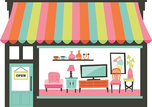 illustrations, cliparts, dessins animés et icônes de maison meubles vitrine salon - vitrine magasin
