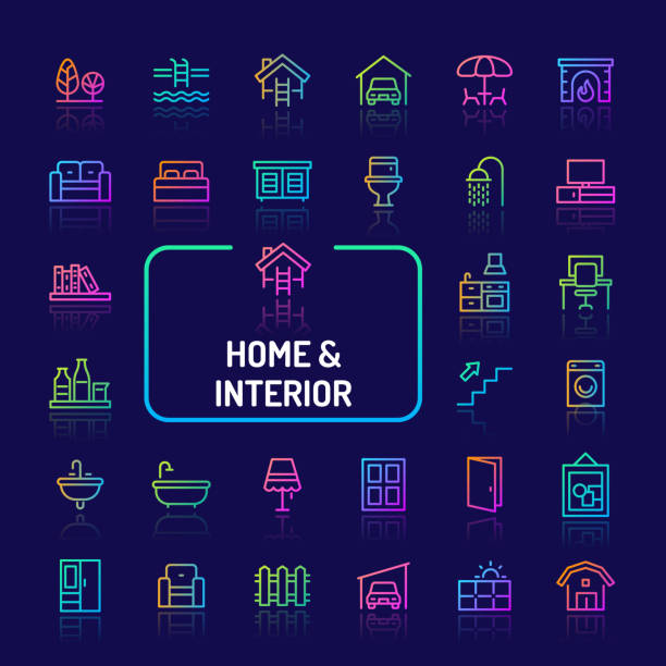 home, set leben, innere & möbel gradient liniensymbol (eps 10) - gartensofa stock-grafiken, -clipart, -cartoons und -symbole