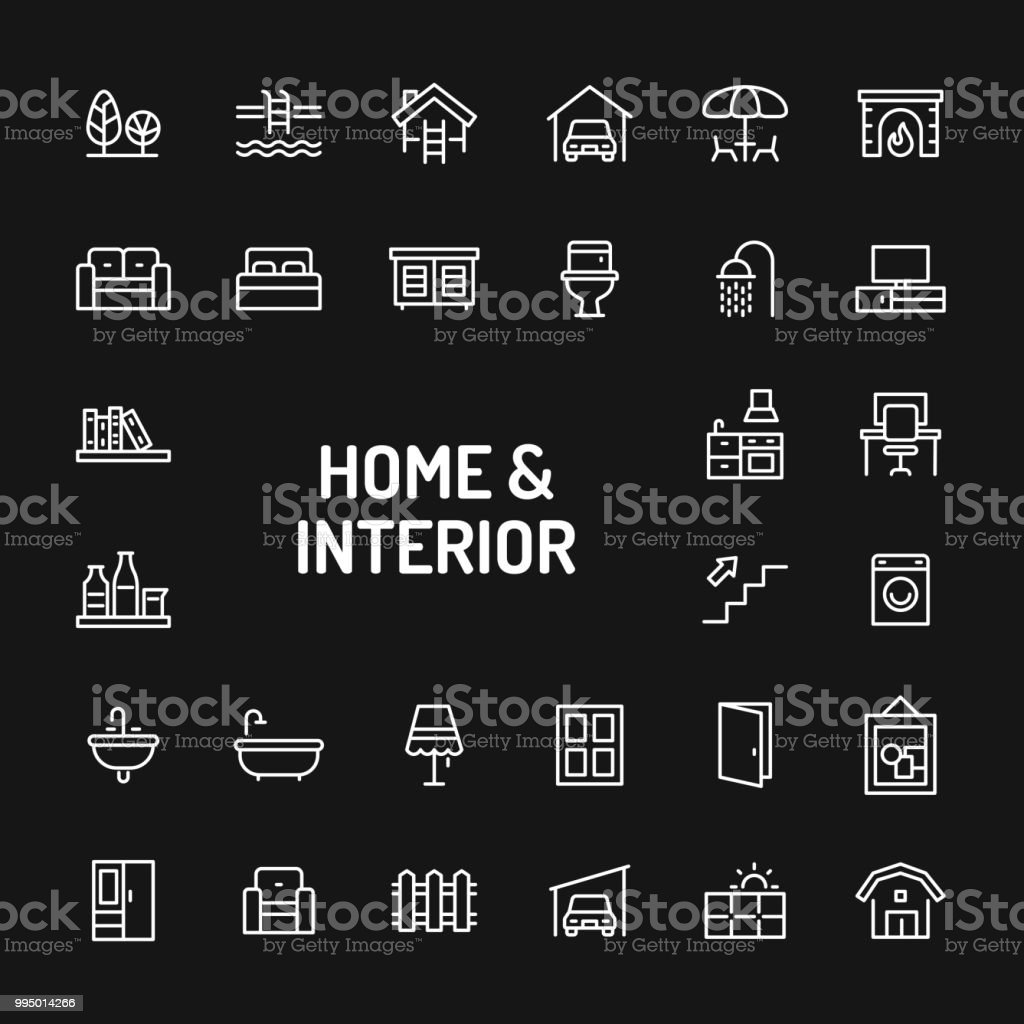 Home, Living, Interior & Furniture Simple Line Icon Set vector art illustration