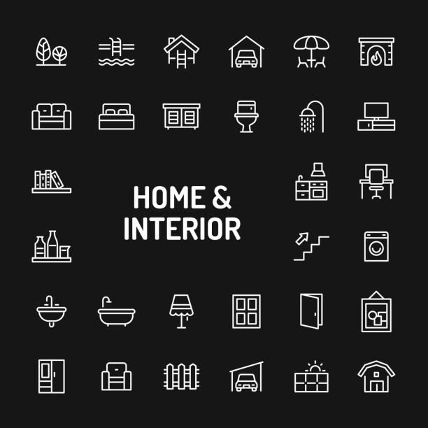 home, set leben, innere & möbel einfach liniensymbol - dachboden stock-grafiken, -clipart, -cartoons und -symbole