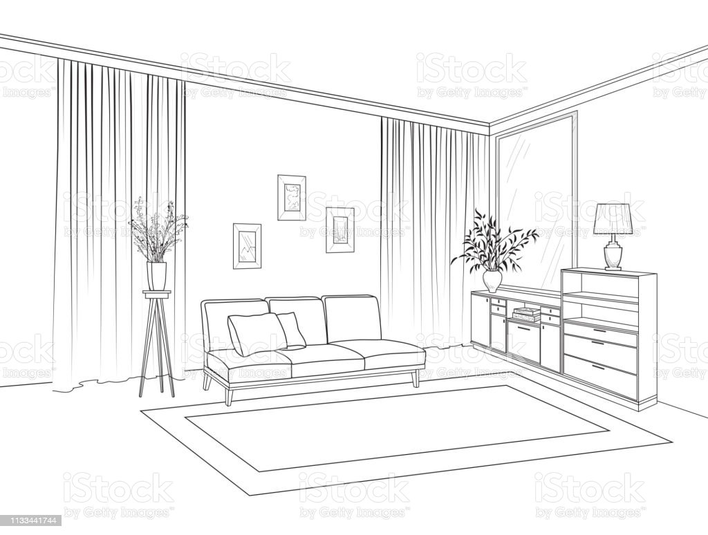 Home Living Room Interior Outline Sketch Of Furniture With Sofa Shelving Table Living Room Drawing Design Engraving Hand Drawing Illustration Stock