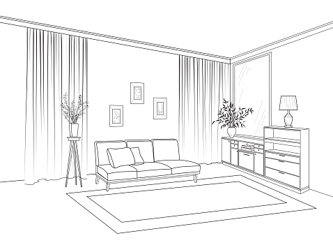 Home living room interior. Outline sketch of furniture with sofa, shelving, table. Living room drawing design. Engraving hand drawing illustration