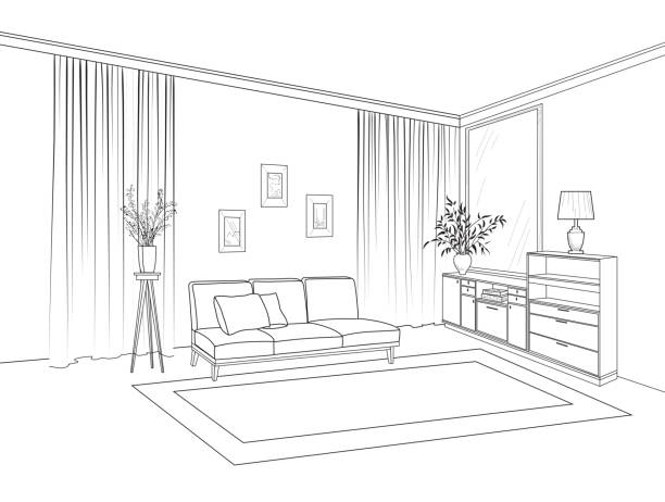 ilustrações de stock, clip art, desenhos animados e ícones de home living room interior. outline sketch of furniture with sofa, shelving, table. living room drawing design. engraving hand drawing illustration - sala