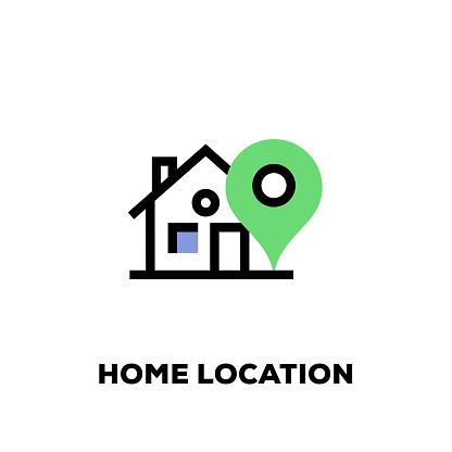 Home Location Line Icon