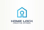 Home lock creative symbol concept. Security access control, account login, building safety abstract business pictogram. House protection, padlock icon.