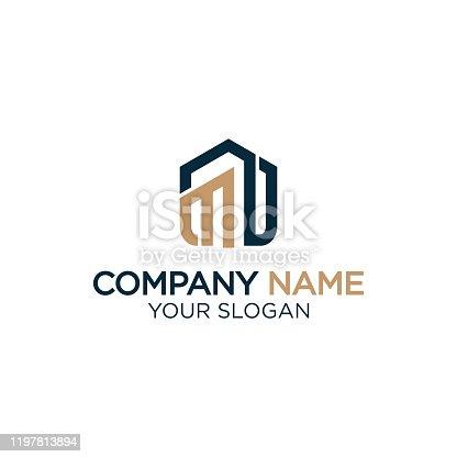 istock M home logo design,modern real estate logo vector 1197813894