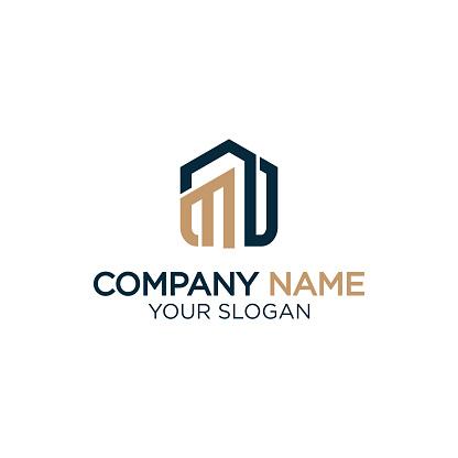 M home logo design,modern real estate logo vector